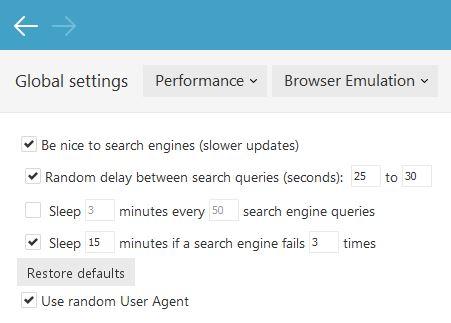 Default Browser Emulation Settings