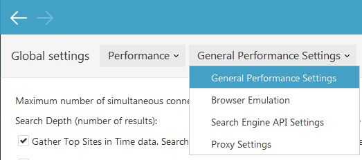 Select Global Performance Settings